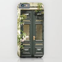 iPhone Cases featuring Romantic Green Door by DuniStudioDesign