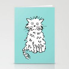 White cat blue Stationery Cards