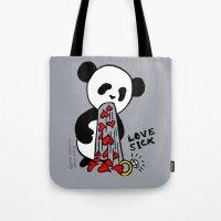 LOVESICK PANDA - grey Tote Bag