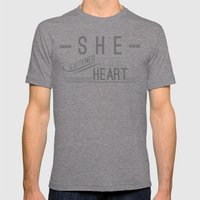 Listen Mens Fitted Tee Tri-Grey SMALL