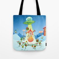 Santa Claus Abducted by a UFO just before Christmas Tote Bag
