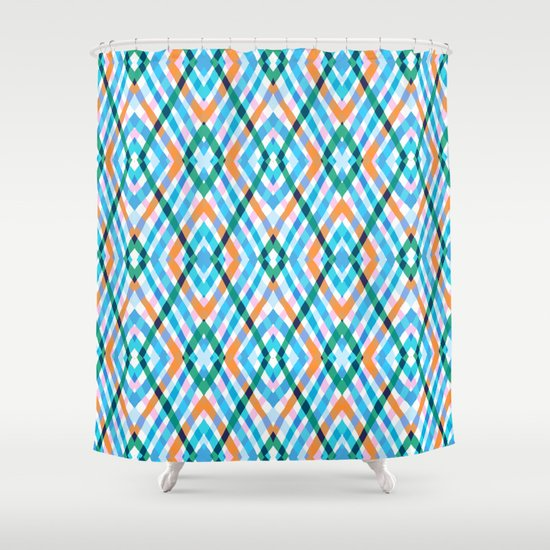 The rustic link based on tenun ikat Shower Curtain