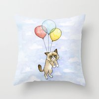 Cat With Balloons Grumpy Birthday Meme Throw Pillow