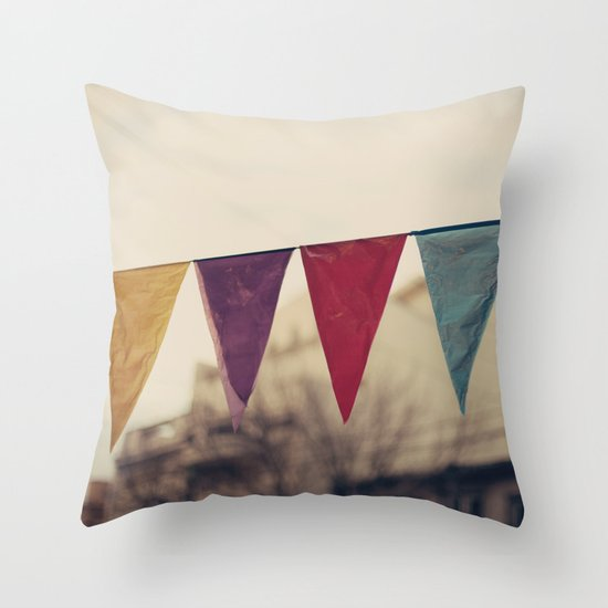Flags (Vintage and retro photopgraphy) Throw Pillow