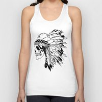 Black and White Native American  Unisex Tank Top