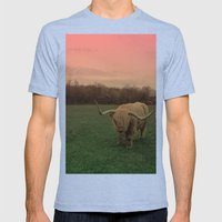 Scottish Highland Steer Mens Fitted Tee Tri-Blue SMALL