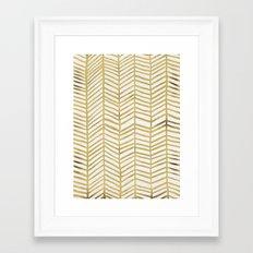 Gold Herringbone Framed Art Print