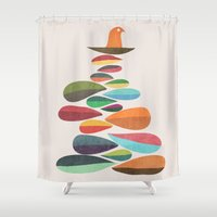 Bird nesting on top of pebbles hill Shower Curtain