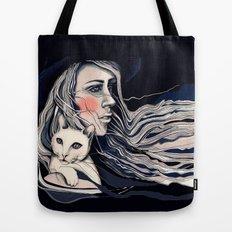 Girl and cat Tote Bag