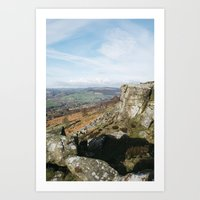View from Curbar Edge. Derbyshire, UK. Art Print