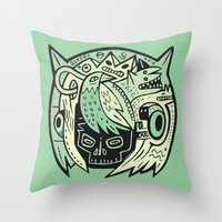 Bubble head - green Throw Pillow