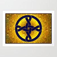 Celtic Knot Blue & Gold Art Print