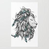 Poetic Lion Turquoise Rug