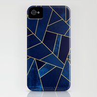 iPhone 4s & iPhone 4 Cases featuring Blue stone with gold lines by Elisabeth Fredriksson