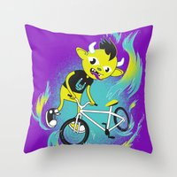 Monster Pixie Riding A F… Throw Pillow