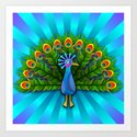 Peacock in Blue Rays Art Print