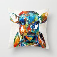 Colorful Cow Art - Mooto… Throw Pillow