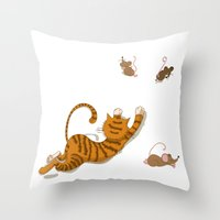 Cat And Mouse Throw Pillow