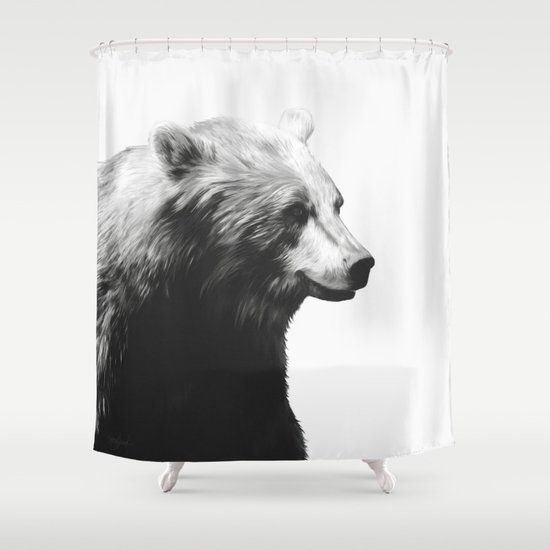 Bear // Calm (Black + White) Shower Curtain