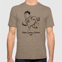 Man Eating Chicken 002 Mens Fitted Tee Tri-Coffee SMALL