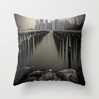 Misty Manhattan Morning Throw Pillow