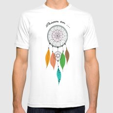 Dream on White Mens Fitted Tee SMALL