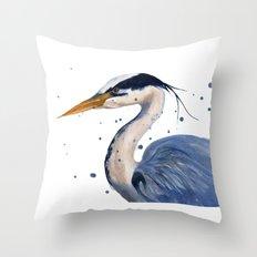 HERON art print, heron painting, watercolor heron, bird painting Throw Pillow