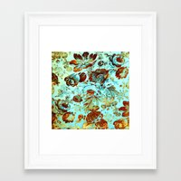 Floral On Turquoise With… Framed Art Print