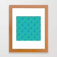 Teal Parasols Pattern Framed Art Print