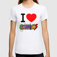 I LOVE COMICS Womens Fitted Tee Ash Grey SMALL