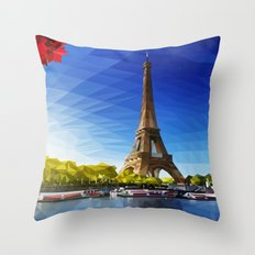 The Pinnacle of Light - Eiffel Tower & River Seine - Paris Throw Pillow