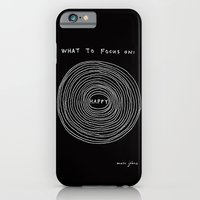 iPhone Cases featuring What to focus on - Happy (on black) by Marc Johns