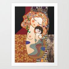 Kokeshi Mother&child  Art Print