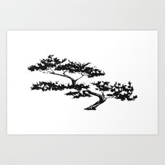 Bonzai Tree on White Background Art Print