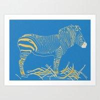Stripped Zebra Art Print