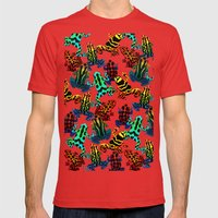 TOXIC FROGS PATTERN Mens Fitted Tee Red SMALL
