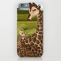 iPhone & iPod Case featuring Giraffes, A Mother's love by WesSide