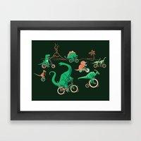 Dinosaurs on Bikes! Framed Art Print