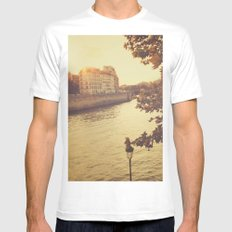 Paris sunset Mens Fitted Tee SMALL White