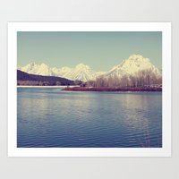 Grand Tetons On The Lake Art Print