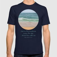 Day at the beach ~ Día de playa Mens Fitted Tee Navy SMALL