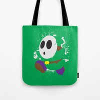 Green Shy Guy Splattery Design Tote Bag