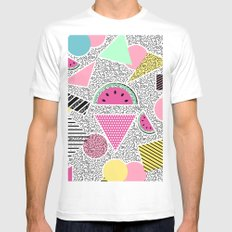 Modern geometric pattern Memphis patterns inspired Mens Fitted Tee White SMALL