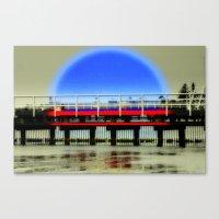 Red Pier- Blue Moon Canvas Print