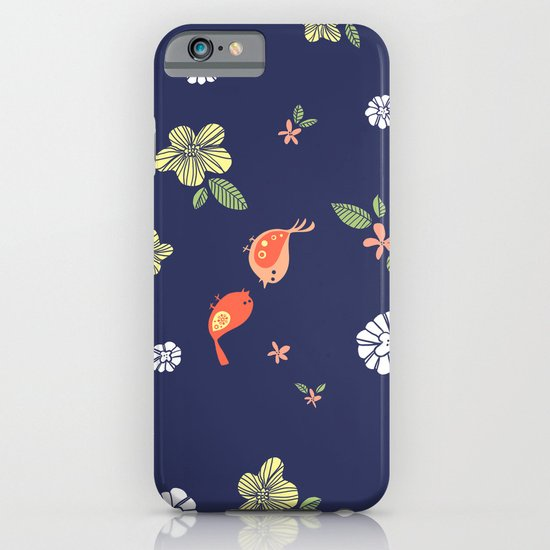 Floral with Birds on blue iPhone & iPod Case