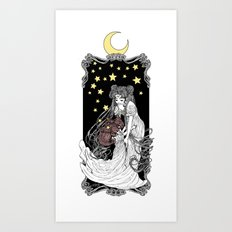The Rabbits in the Moon Art Print