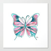 Pink and Blue Watercolor Butterfly Canvas Print