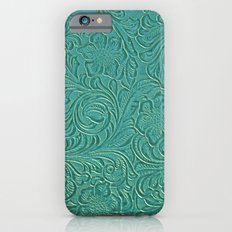 Teal Leather iPhone 6 Slim Case