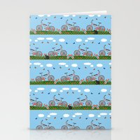 Pink bicycles pattern Stationery Cards