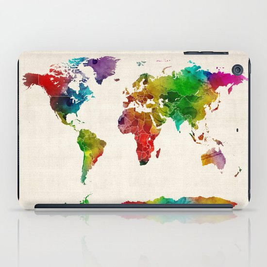 Watercolor Map of the World Map iPad Case